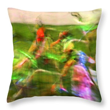 Girls Lacrosse Abstract Throw Pillow by Susan Leggett