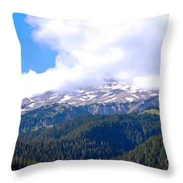 Glaciers In The Clouds. Mt. Rainier National Park Throw Pillow by Connie Fox