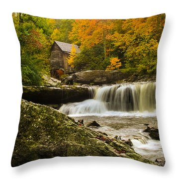 Glade Creek Grist Mill Throw Pillow by Shane Holsclaw