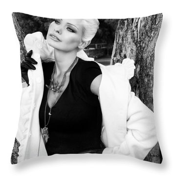 Glamour Bw Palm Springs Throw Pillow by William Dey