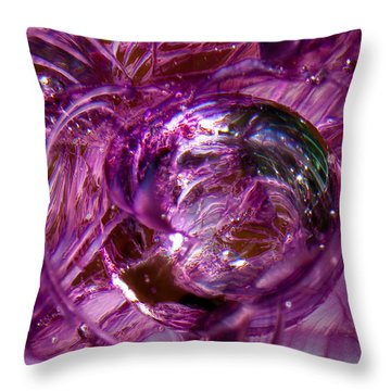 Glass Macro - Deep Pinks II Throw Pillow by David Patterson
