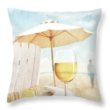 Glass Of  Wine On Adirondack Chair At The Beach Throw Pillow by Sandra Cunningham