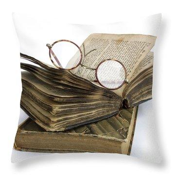 Glasses And Book Throw Pillow by Bernard Jaubert