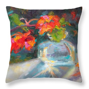 Gleaning Light Nasturtium Still Life Throw Pillow by Talya Johnson