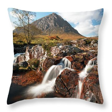 Glen Etive Mountain Waterfall Throw Pillow by Grant Glendinning