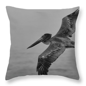 Gliding Pelican In Black And White Throw Pillow by Sebastian Musial