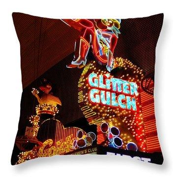 Glitter Gulch Throw Pillow by John Malone