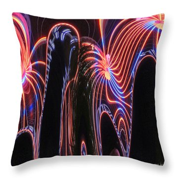 Glowing Curves Throw Pillow by Marian Bell