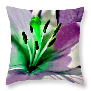 Glowing Lily Heart  Throw Pillow by Danielle  Parent