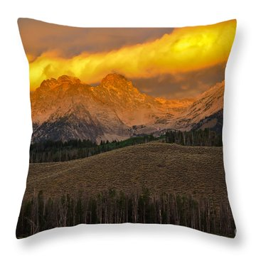 Glowing Sawtooth Mountains Throw Pillow by Robert Bales