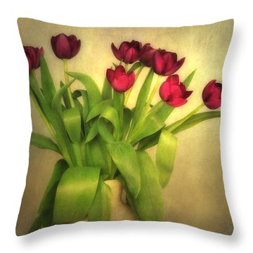 Glowing Tulips Throw Pillow by Annie Snel