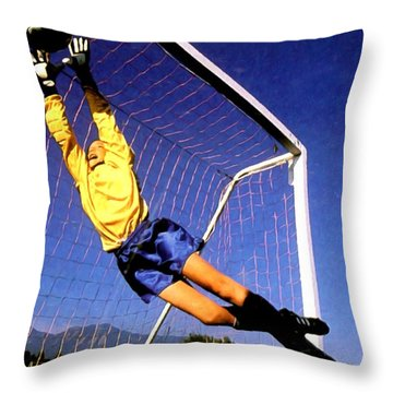 Goalkeeper Catches The Ball Throw Pillow by Lanjee Chee