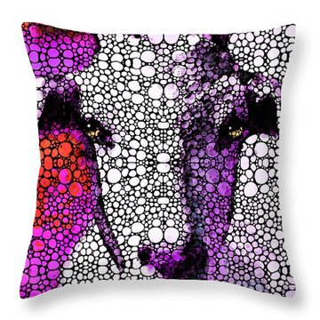 Goat - Pinky - Stone Rock'd Art By Sharon Cummings Throw Pillow by Sharon Cummings