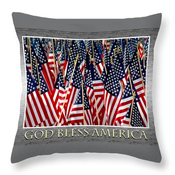 God Bless America Throw Pillow by Carolyn Marshall
