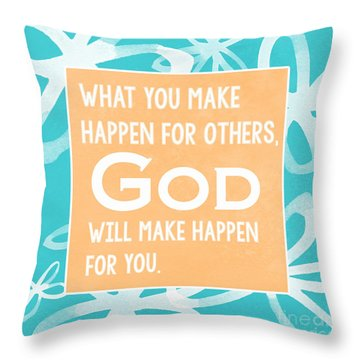God's Gift - Blue Throw Pillow by Linda Woods
