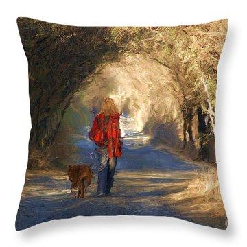 Going For A Walk Throw Pillow by John  Kolenberg