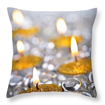 Gold Christmas Candles Throw Pillow by Elena Elisseeva