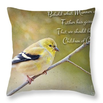 Gold Finch On Twig With Verse Throw Pillow by Debbie Portwood