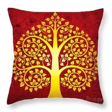 Golden Bodhi Tree No.1 Throw Pillow by Bobbi Freelance