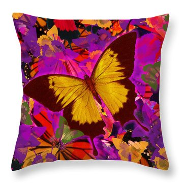 Golden Butterfly Painting Throw Pillow by Alixandra Mullins