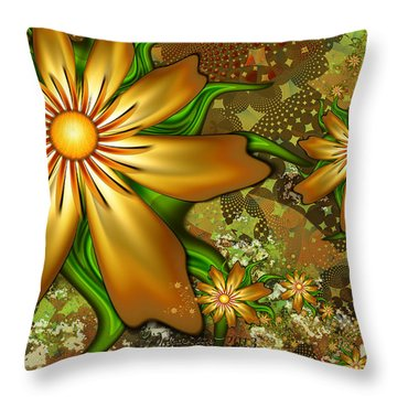 Golden Flowers Throw Pillow by Peggi Wolfe