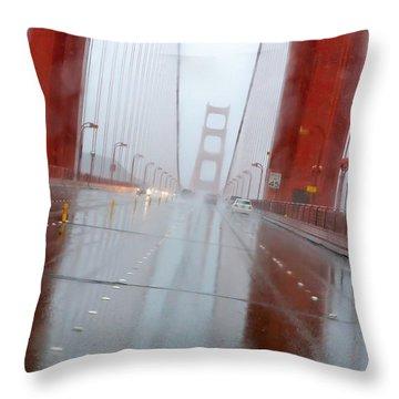 Golden Gate Rain Throw Pillow by Daniel Furon