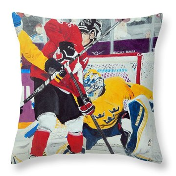 Golden Goal In Sochi Throw Pillow by Betty-Anne McDonald