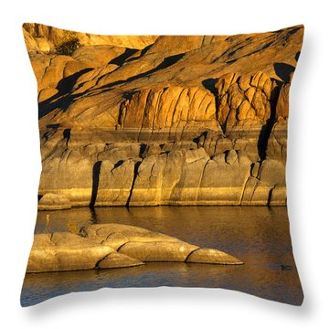 Golden Granite Glow Throw Pillow by Mike  Dawson