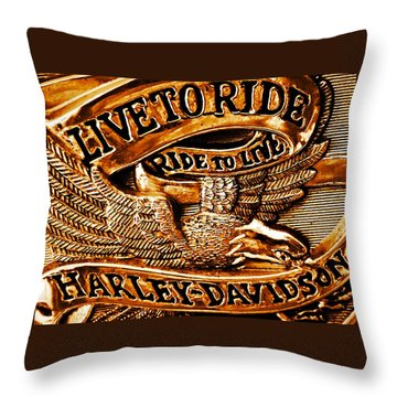 Golden Harley Davidson Logo Throw Pillow by Chris Berry