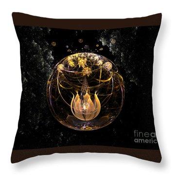 Golden Lotus In Deep Space Throw Pillow by Peter R Nicholls