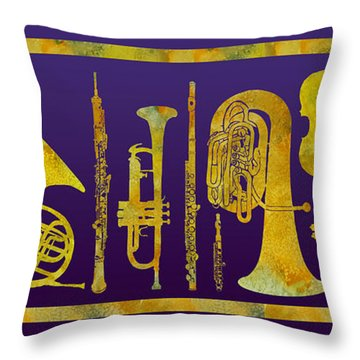 Golden Orchestra Throw Pillow by Jenny Armitage