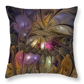 Golden Ornamentations-fractal Design Throw Pillow by Karin Kuhlmann