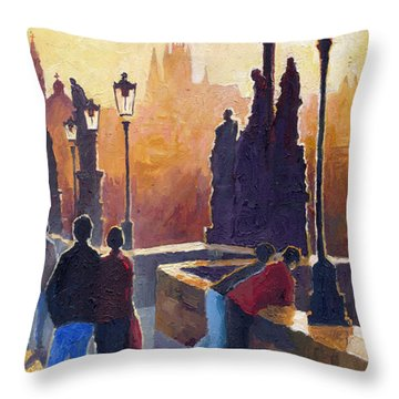 Golden Prague Charles Bridge Throw Pillow by Yuriy Shevchuk