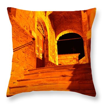 Golden Stairs Throw Pillow by Ramona Matei