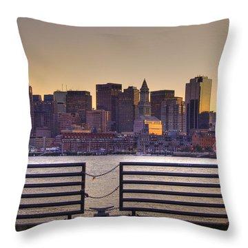 Golden Sunset Over Boston Throw Pillow by Joann Vitali