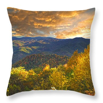 Golden Tipped Smokey's  Throw Pillow by Randall Branham