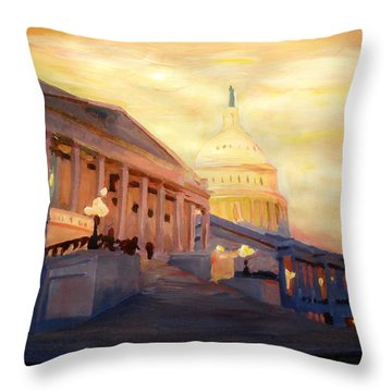 Golden United States Capitol In Washington D.c. Throw Pillow by M Bleichner