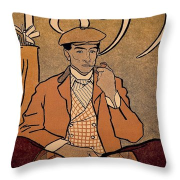 Golf Calendar Throw Pillow by Edward Penfield