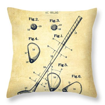 Golf Club Patent Drawing From 1910 - Vintage Throw Pillow by Aged Pixel