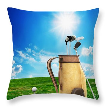 Golf Equipment And Ball On Golf Course Throw Pillow by Michal Bednarek