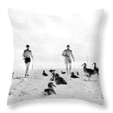 Golf With Gooney Birds Throw Pillow by Underwood Archives