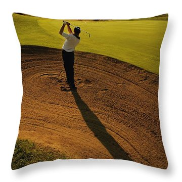 Golfer Taking A Swing From A Golf Bunker Throw Pillow by Darren Greenwood