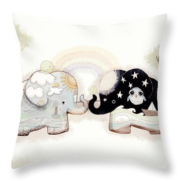 Good Karma Elephants Throw Pillow by Karin Taylor