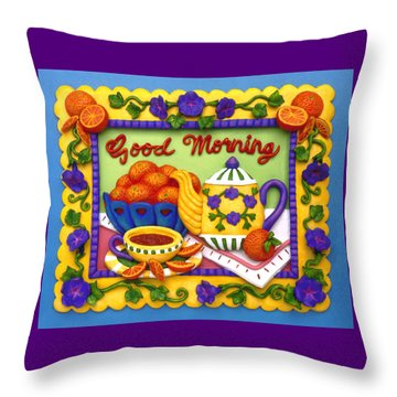 Good Morning Throw Pillow by Amy Vangsgard