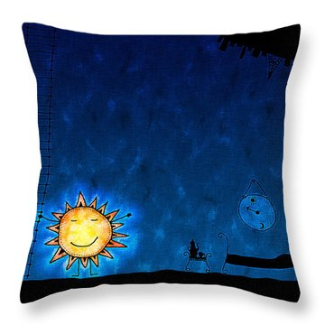 Good Night Sun Throw Pillow by Gianfranco Weiss