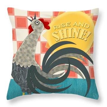 Goodmorning Rooster Throw Pillow by Valerie Drake Lesiak