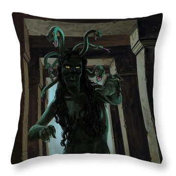 Gorgon Medusa Throw Pillow by Martin Davey