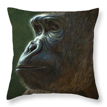 Gorilla Throw Pillow by Aaron Blaise