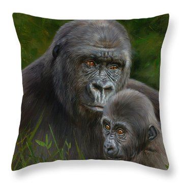 Gorilla And Baby Throw Pillow by David Stribbling