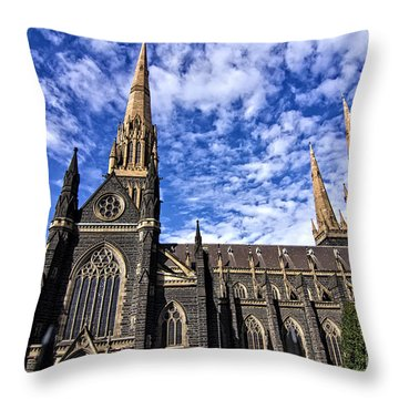 Gothic Revival Style St Patrick's Cathedral In Melbourne Throw Pillow by Beverly Claire Kaiya